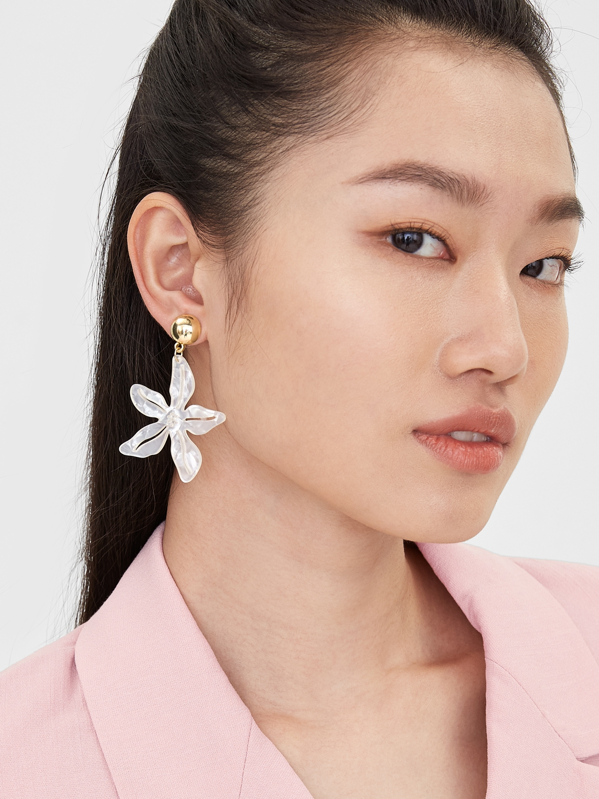 Pearl Abstract Flower Shaped Drop Earrings White