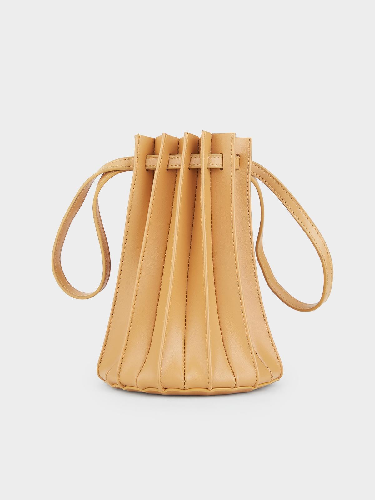 Pleated Leather Handbag Orange