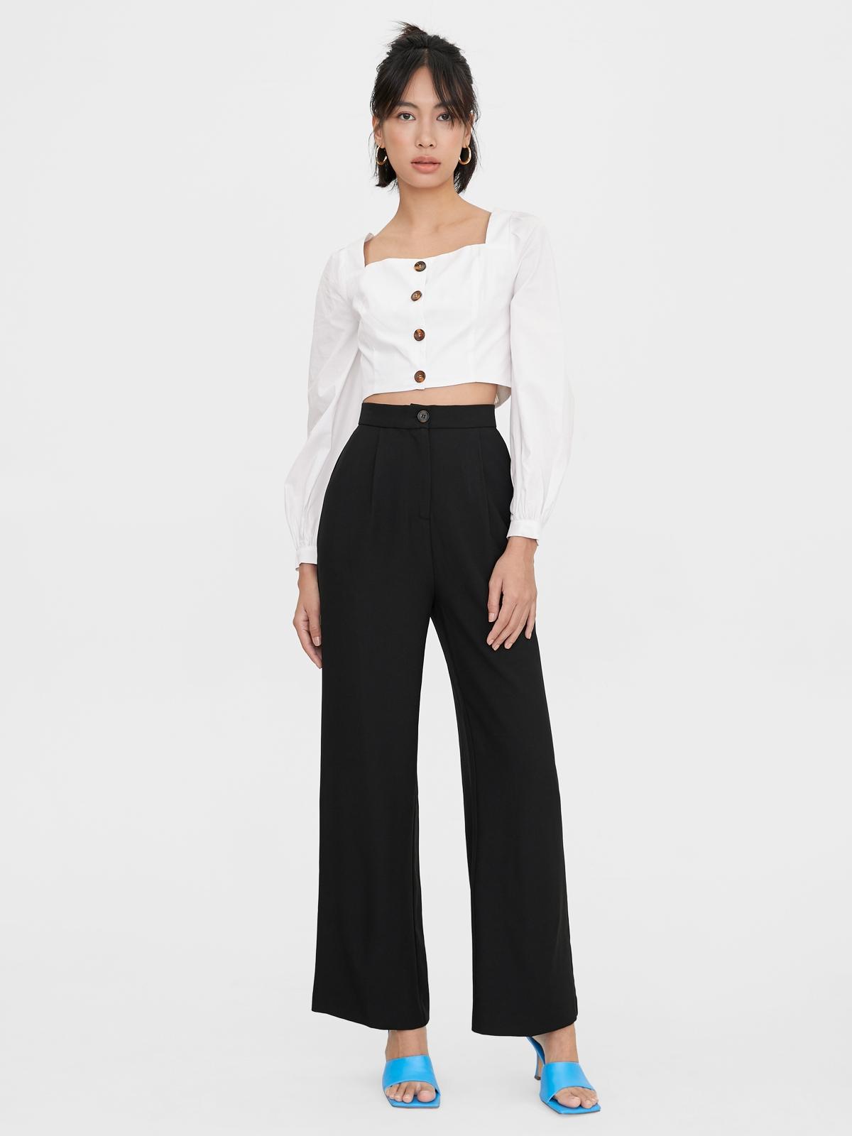Single Button Wide Leg Pants Black