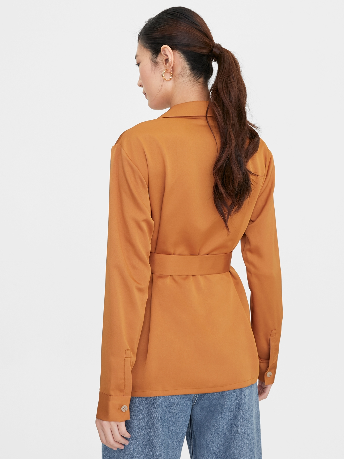 Button Up Belted Long Sleeve Shirt Brown