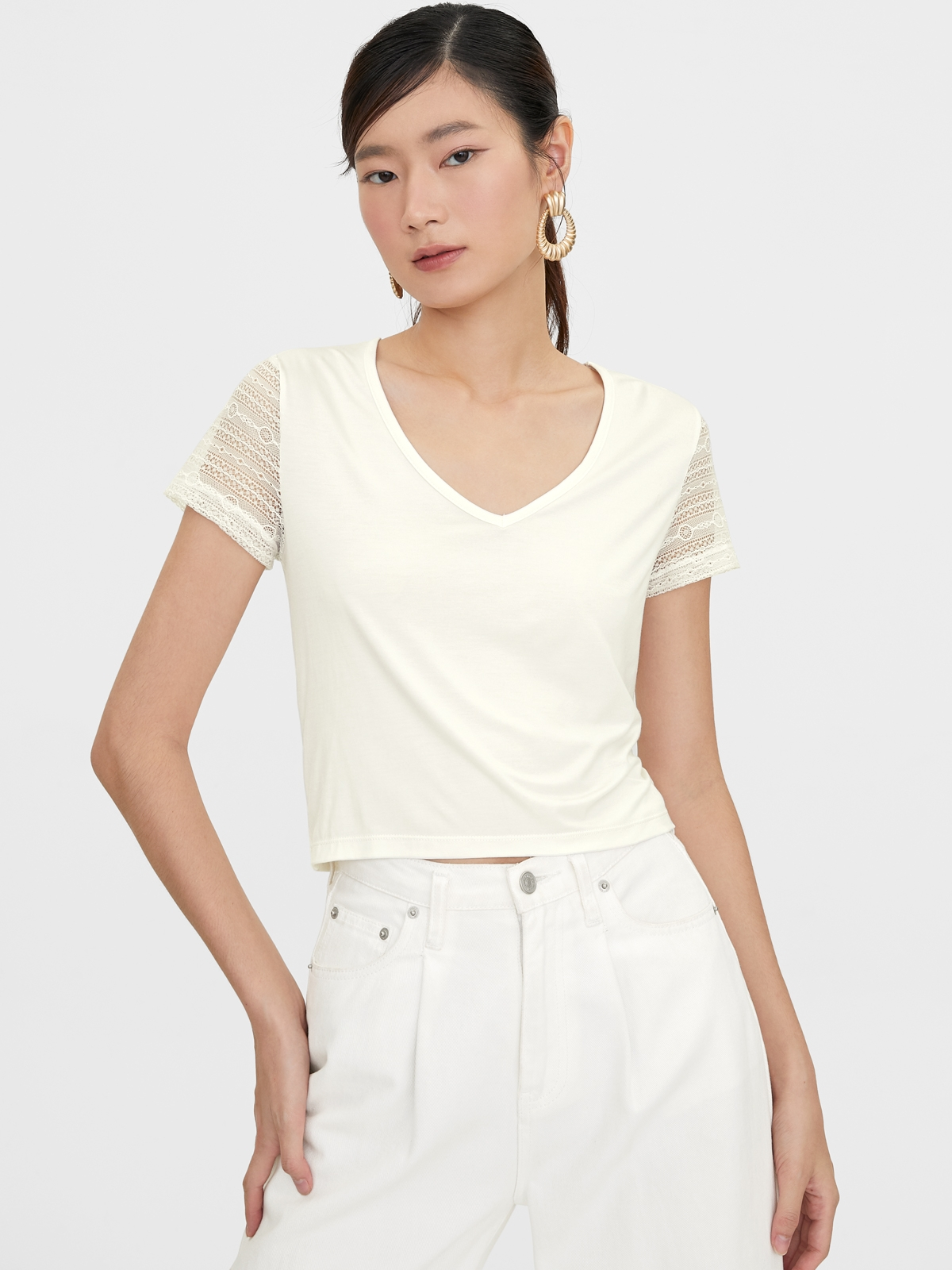 Lace Short Sleeves Tees White