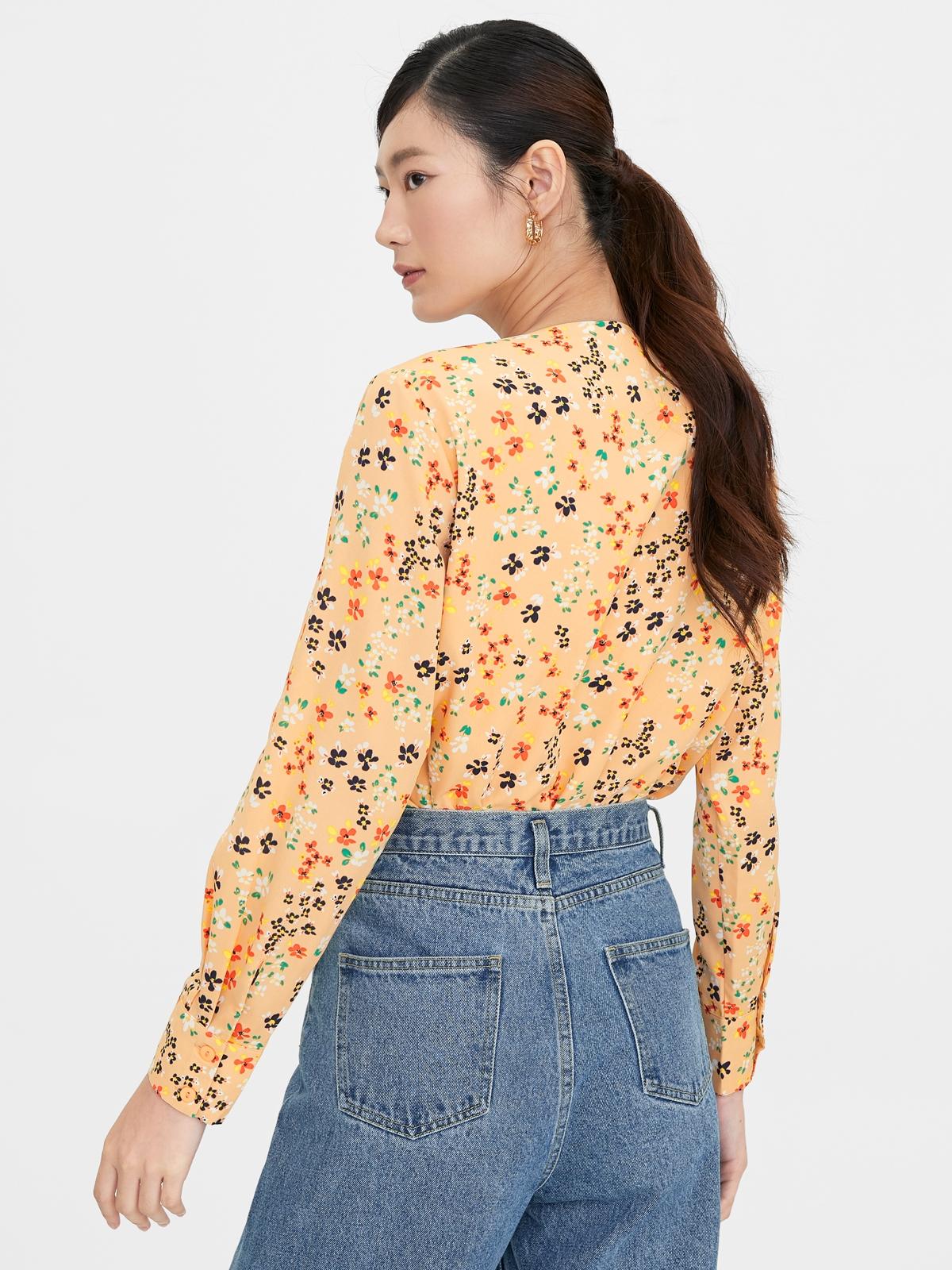 Long Sleeve Floral Bodysuit Orange