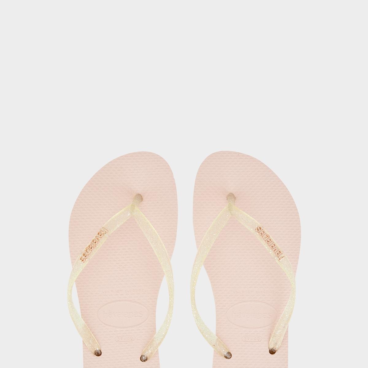Havaianas Slim Logo Metallic Sandals Rose