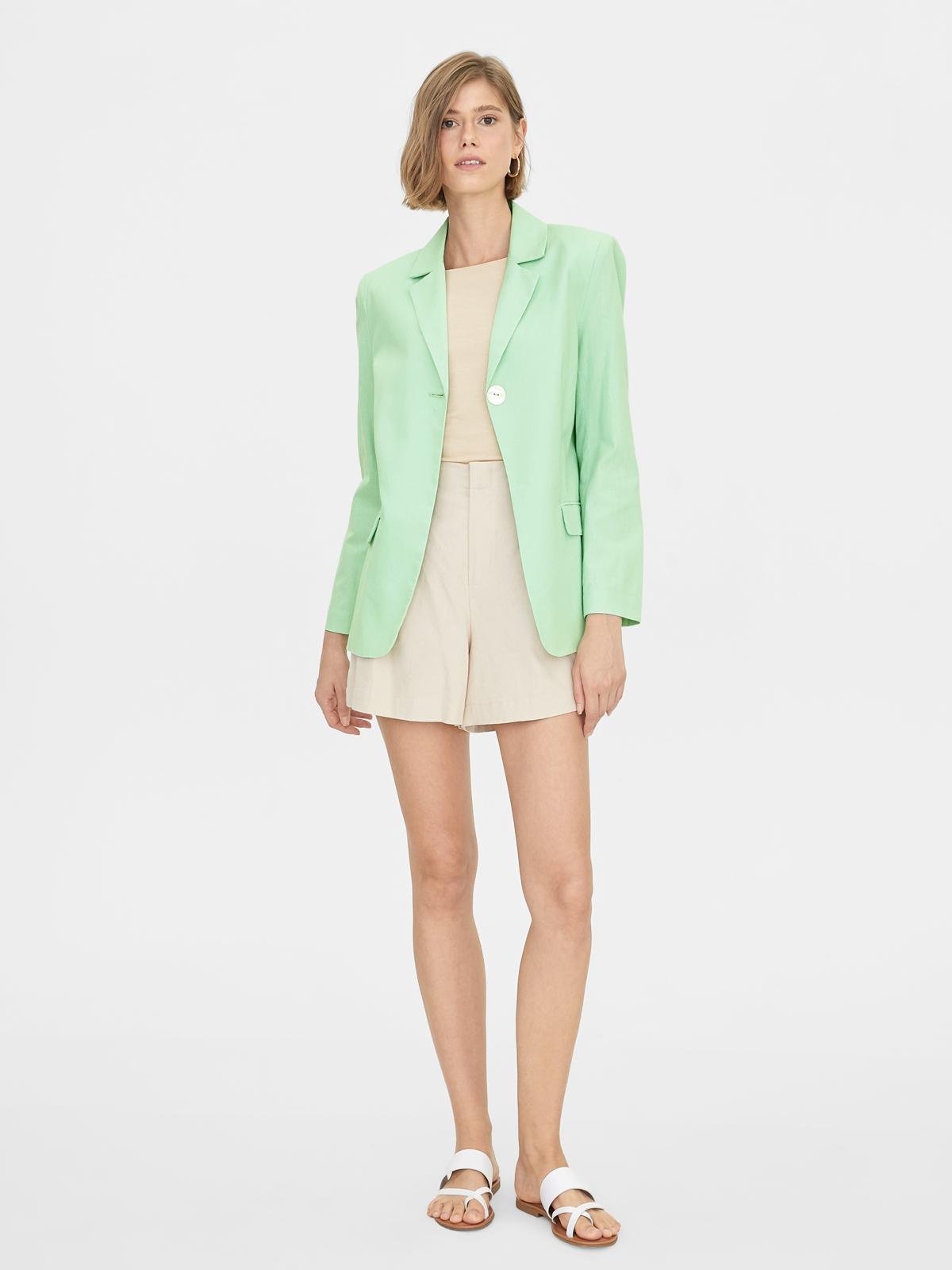 Single Button Oversized Blazer Green