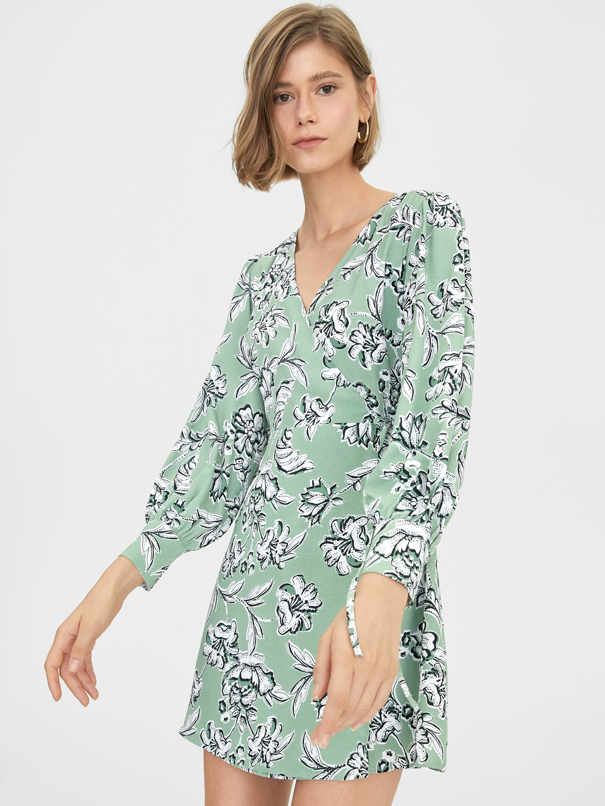 Abstract Floral Print Dress Green