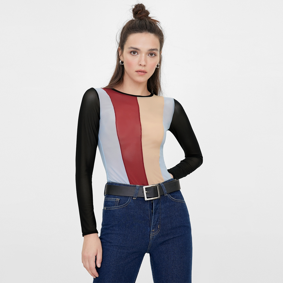 Colorful Striped Bodysuit Black