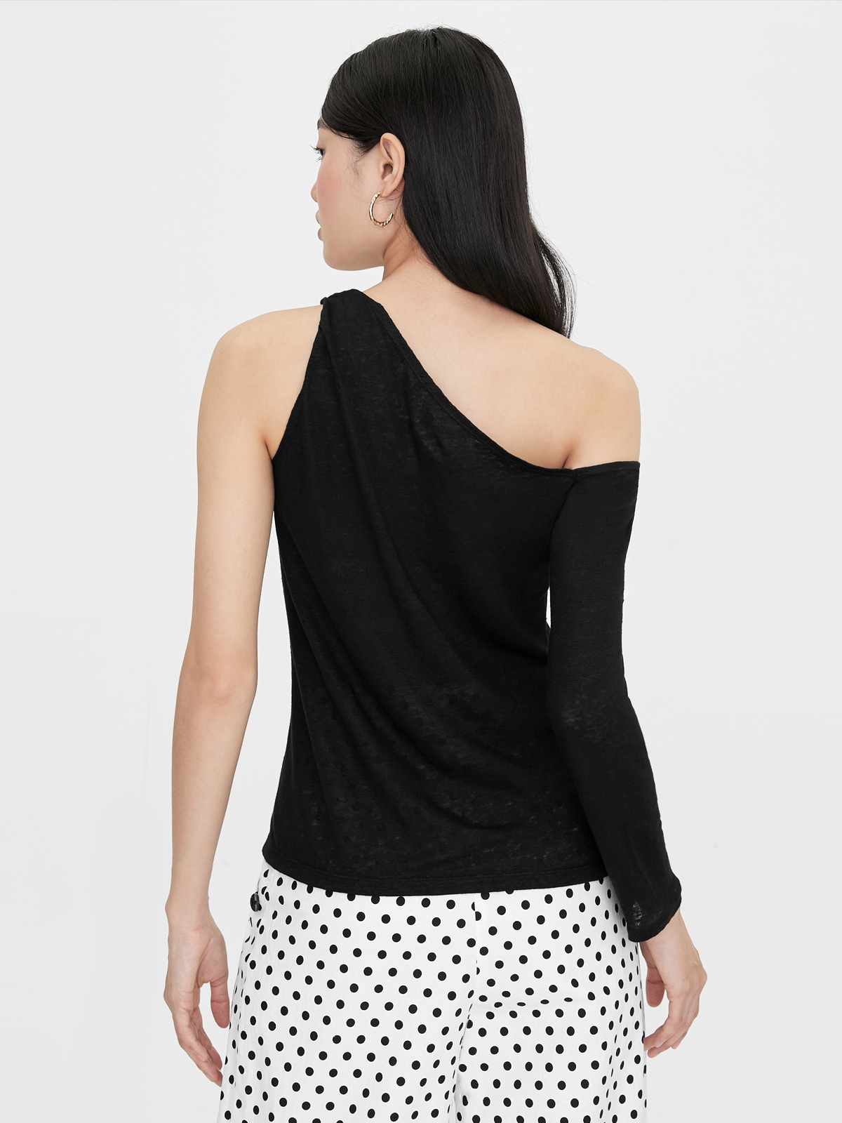 One Side Rolled Up Long Sleeve Top Black