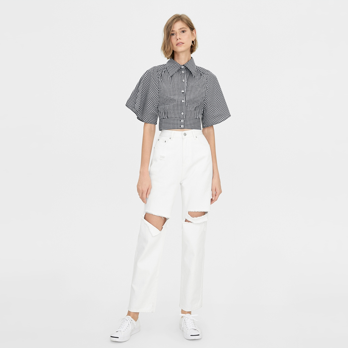 Gingham Buttoned Up Crop Top Black