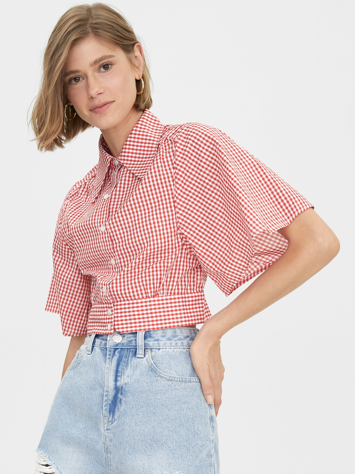 Gingham Buttoned Up Crop Top Red