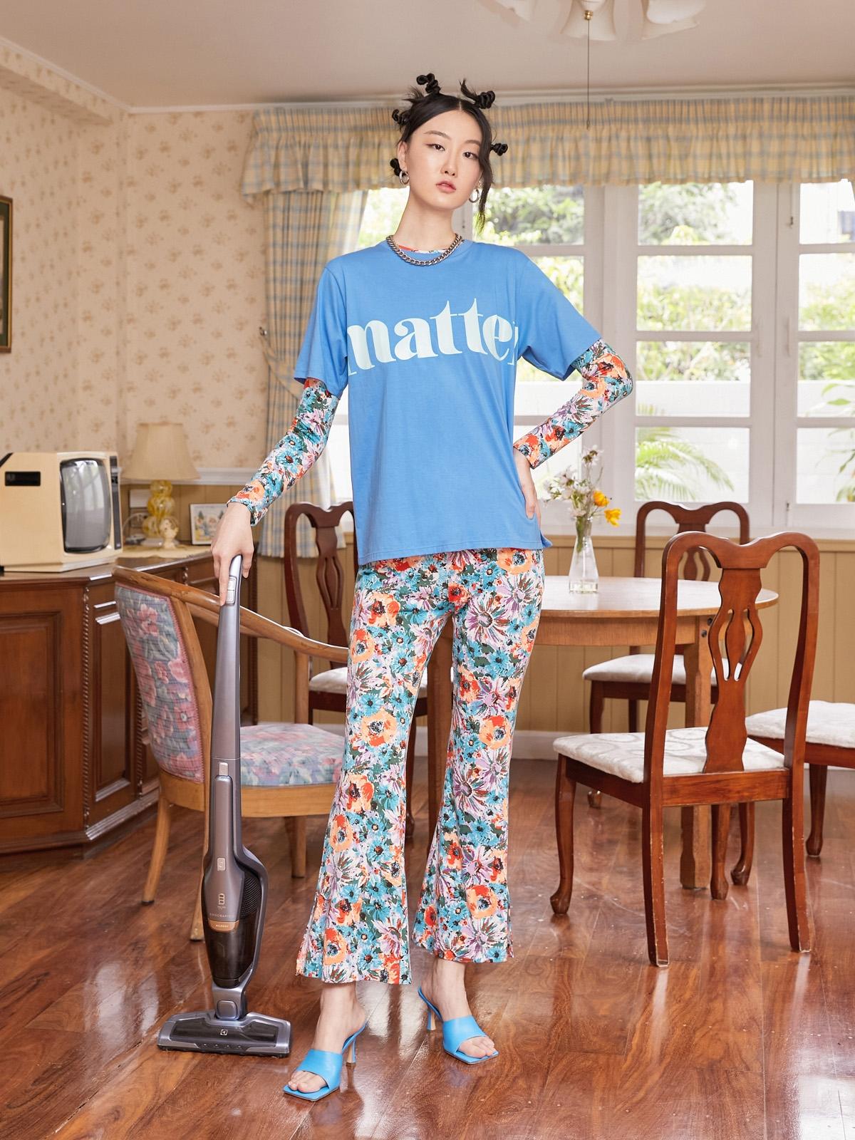 Matter Makers 120Flower Print Jersey Pants Blue