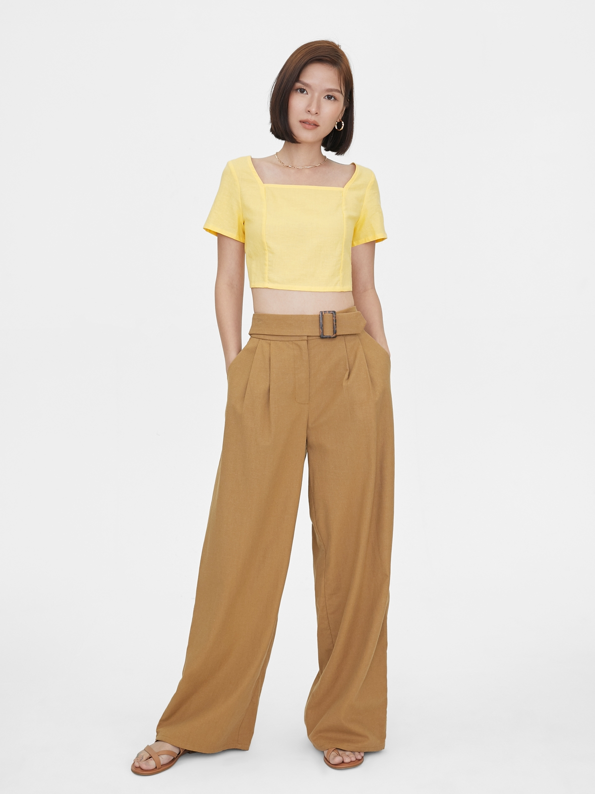 Back Buttoned Up Crop Top Yellow