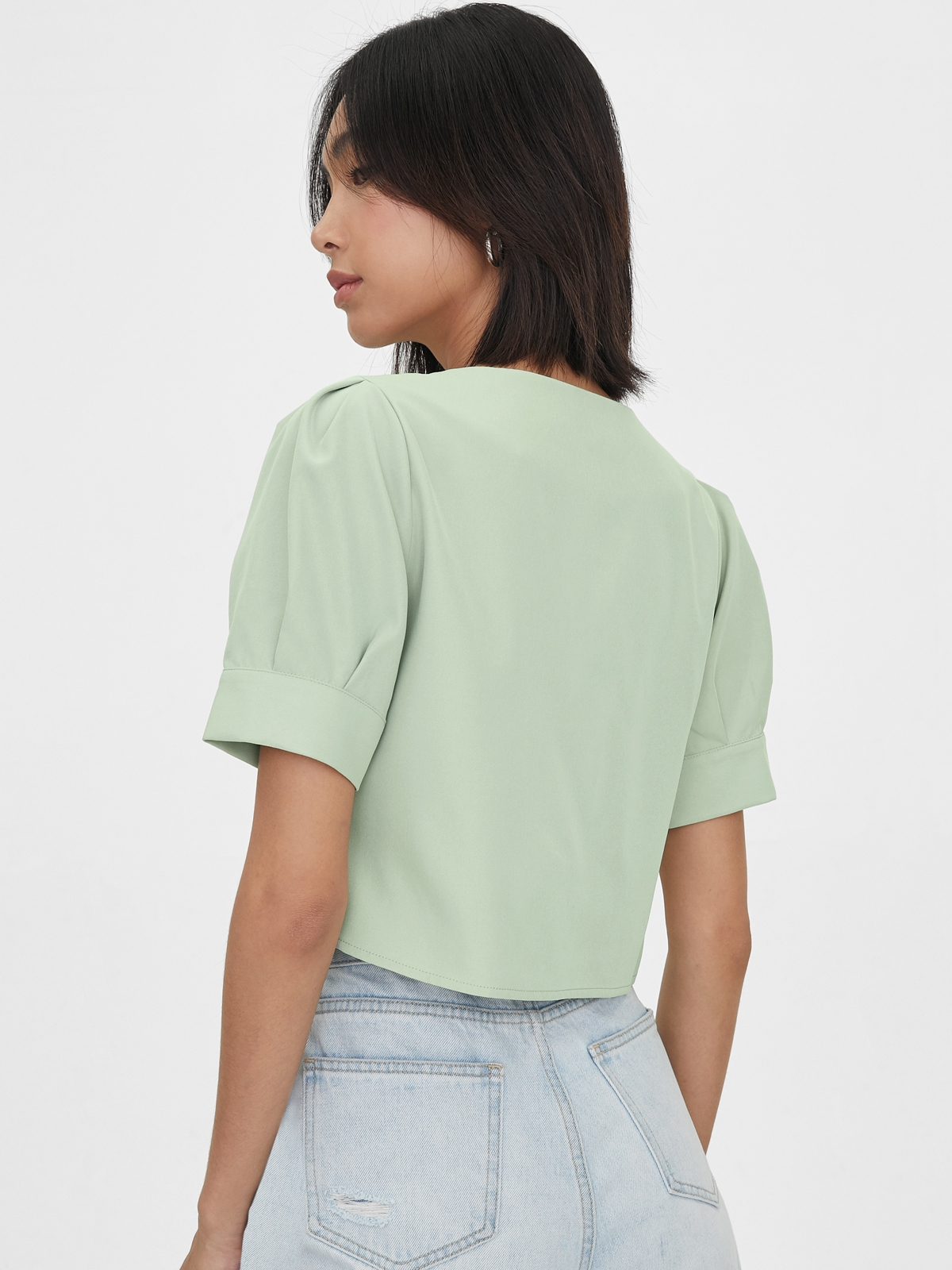 Heart Shaped Button Puff Sleeves Top Green