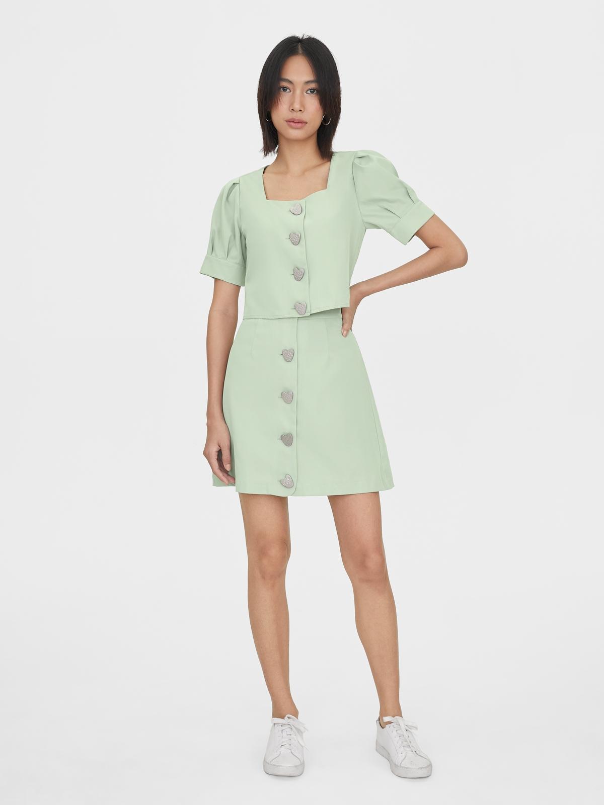 Front Heart Shaped Button Skirt Green