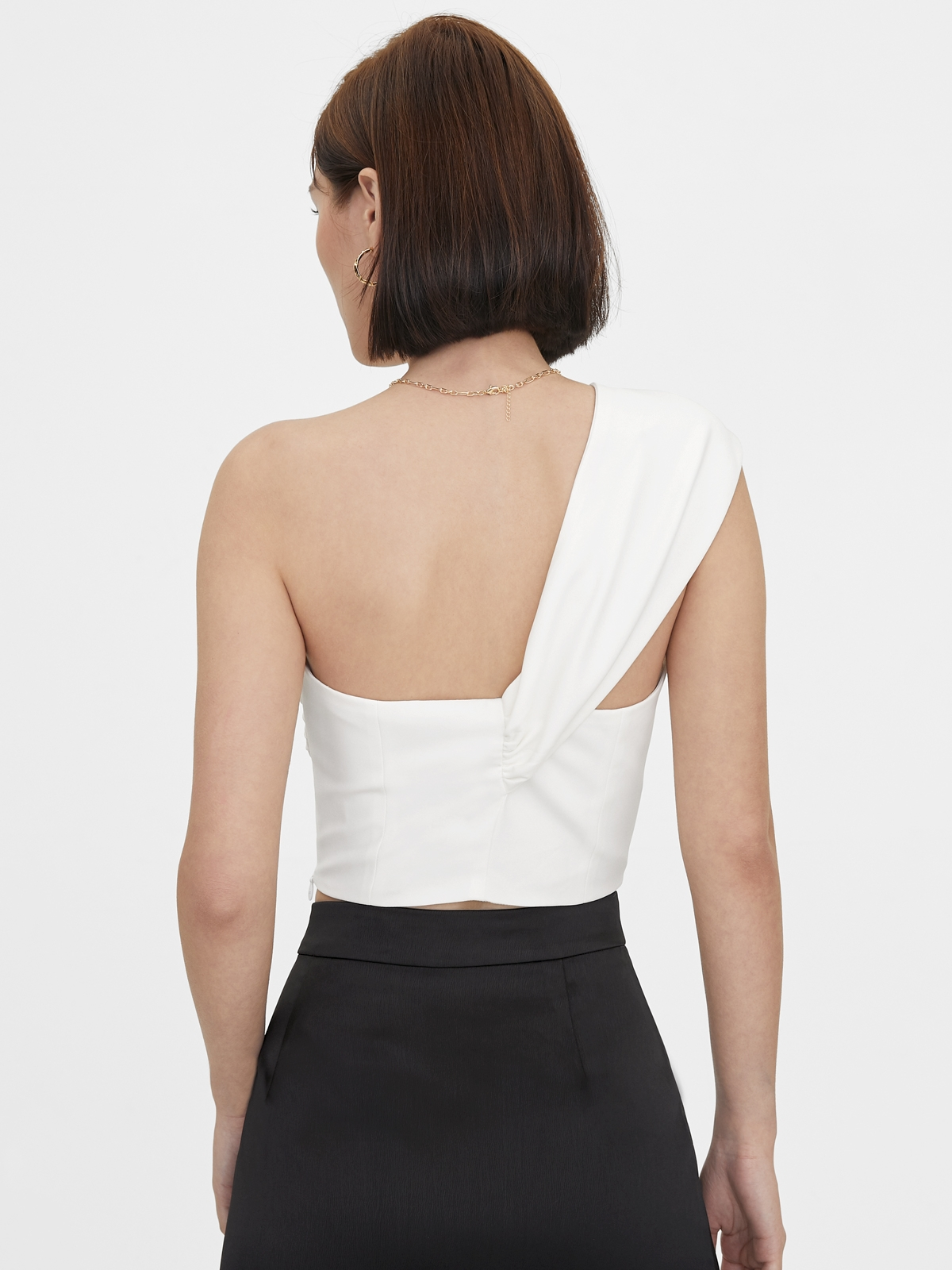 One Shoulder Knotted Sweetheart Top White