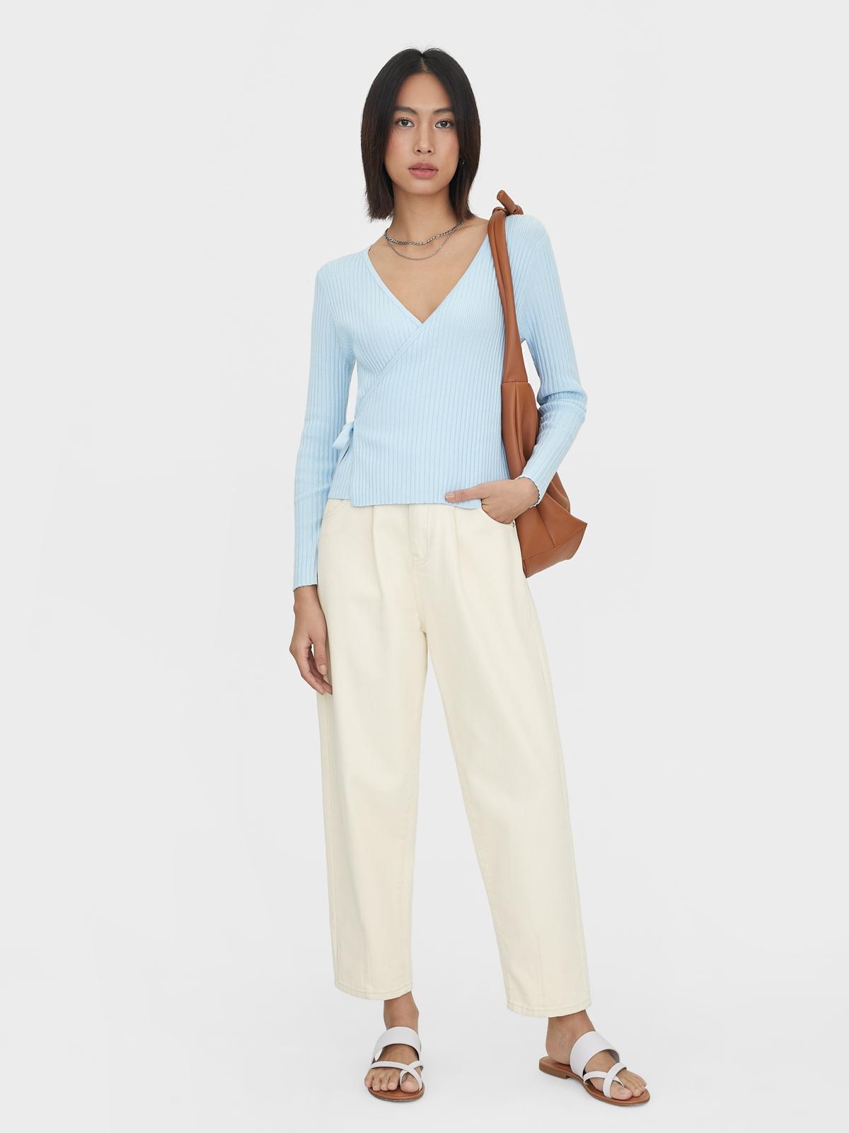 Ribbed Wrap Long Sleeves Cardigan Blue