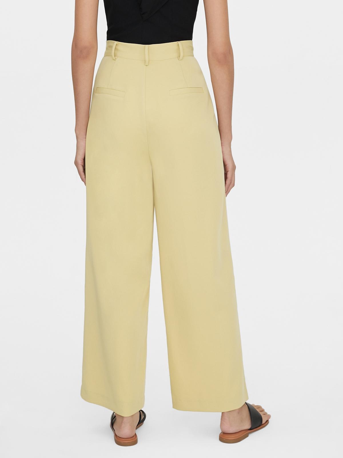 Piping Wide Leg Pants Yellow