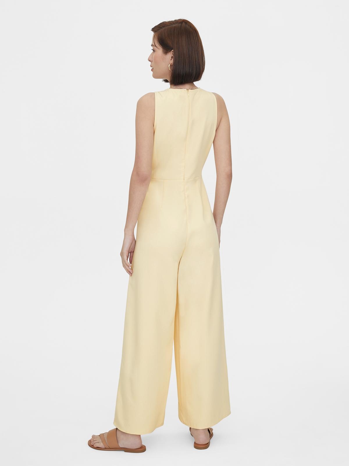 Buckle Belted Sleeveless Jumpsuit Cream