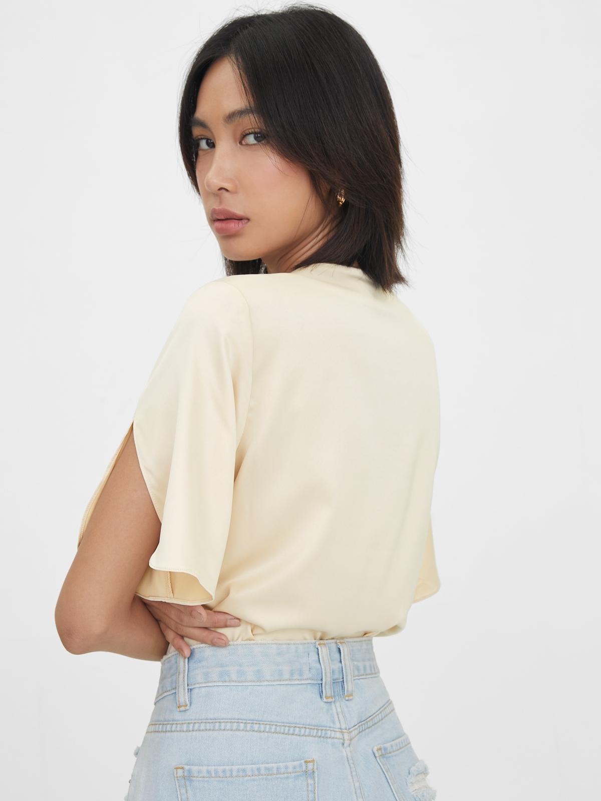 Slit Sleeves V Neck Bodysuit Cream