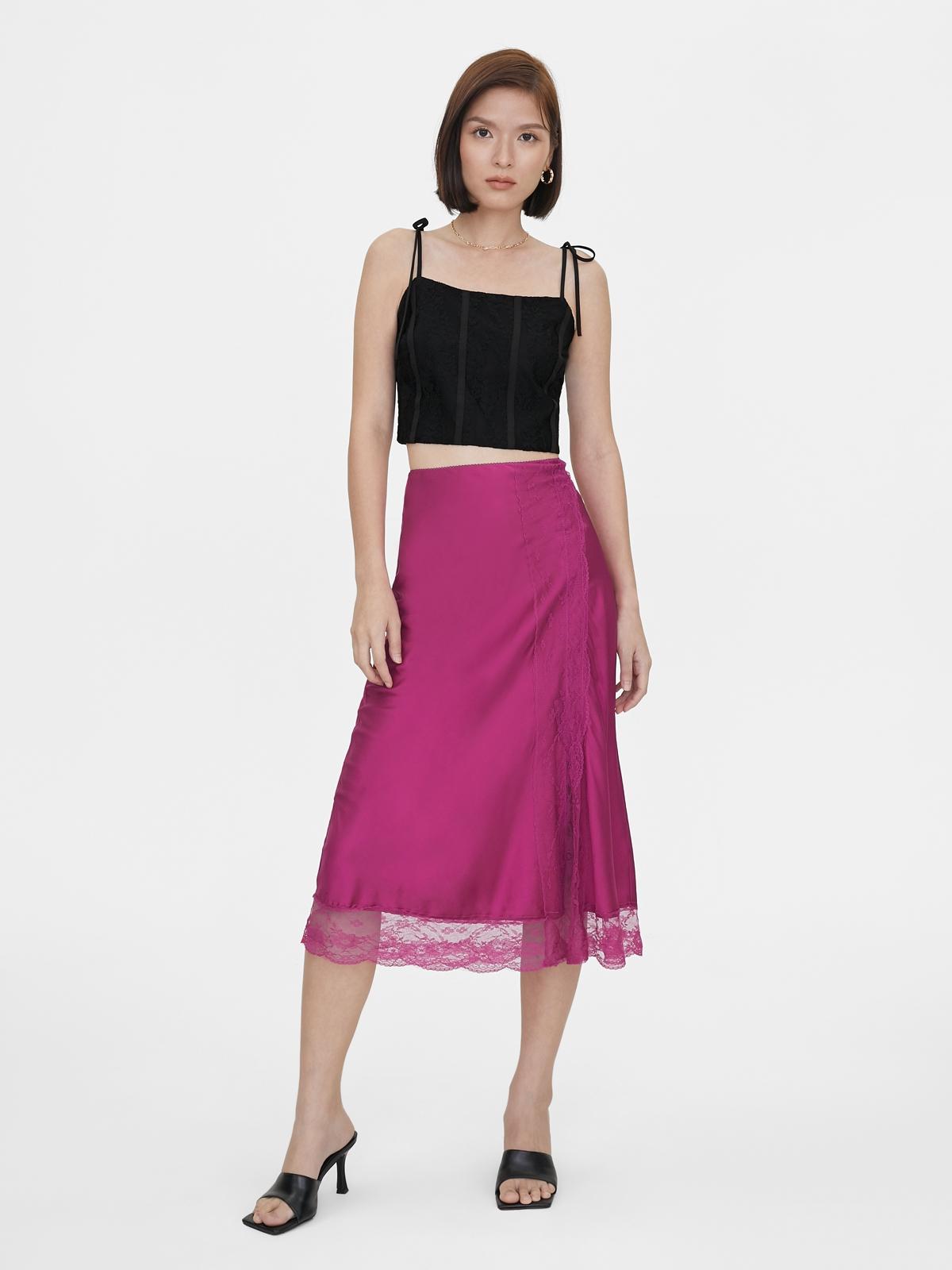 Lace Bow Tie Shoulder Crop Top Black