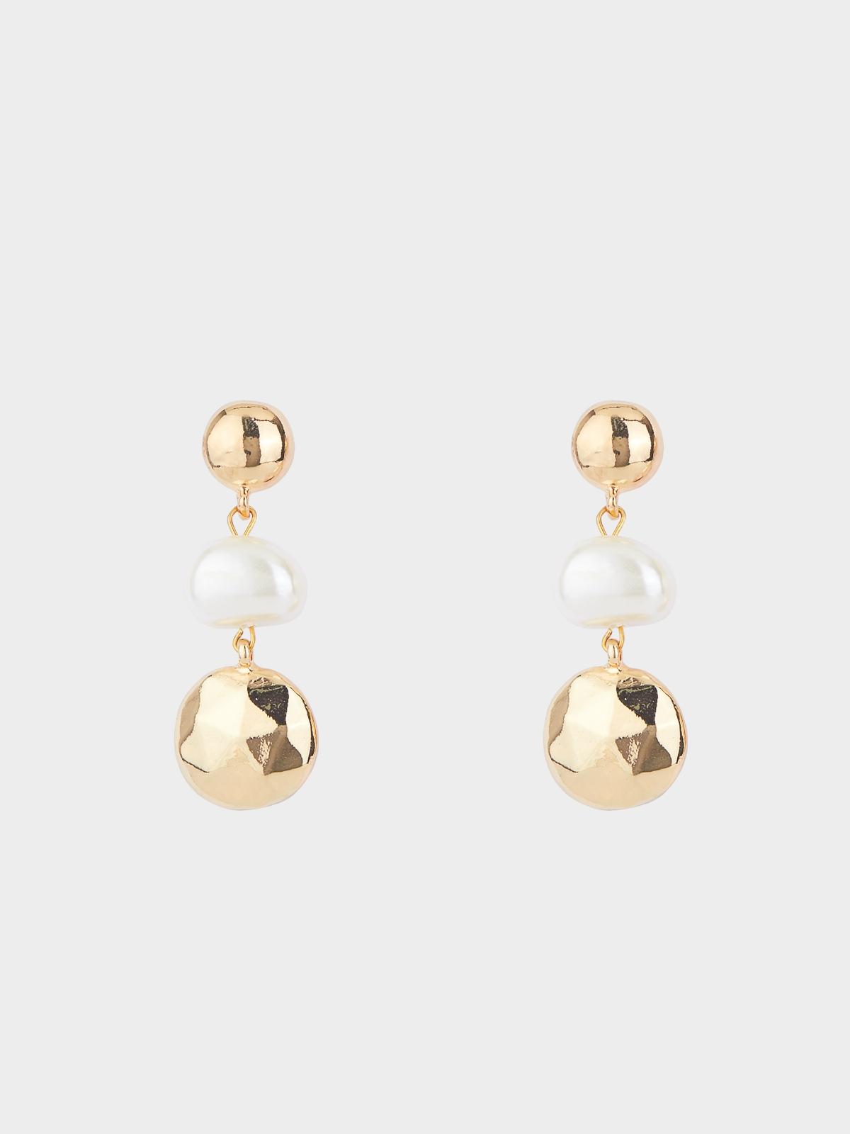 Pearl Circle Plate Drop Earrings Gold