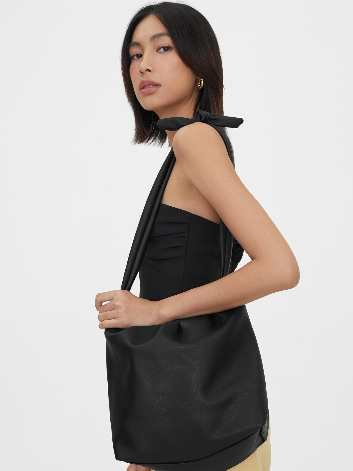 Bow Tie Strap Crossbody Bag Black