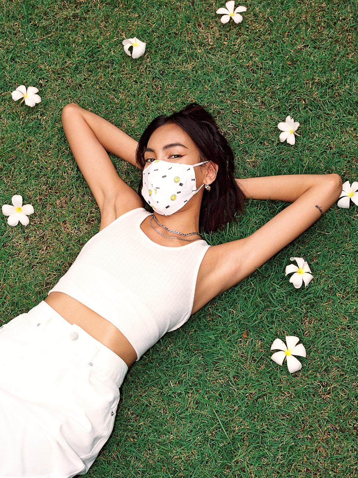 Pomelo X Smiley Smile Typo Mask White