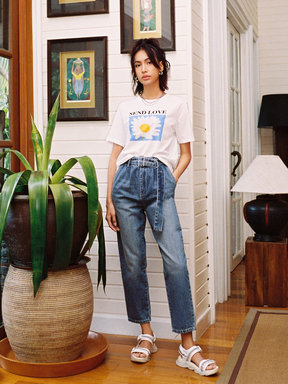 Belted High Waist Mom Jeans Blue