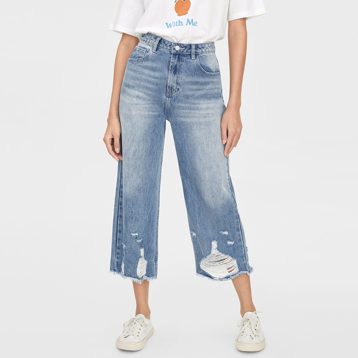 Ripped Ankle High Waist Jeans Blue