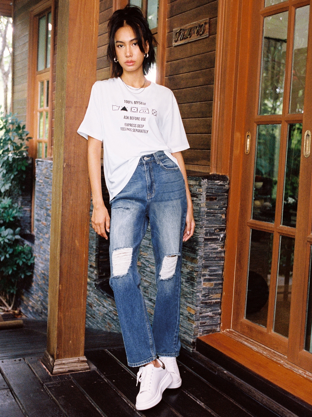 Multi Ripped High Waist Jeans Blue