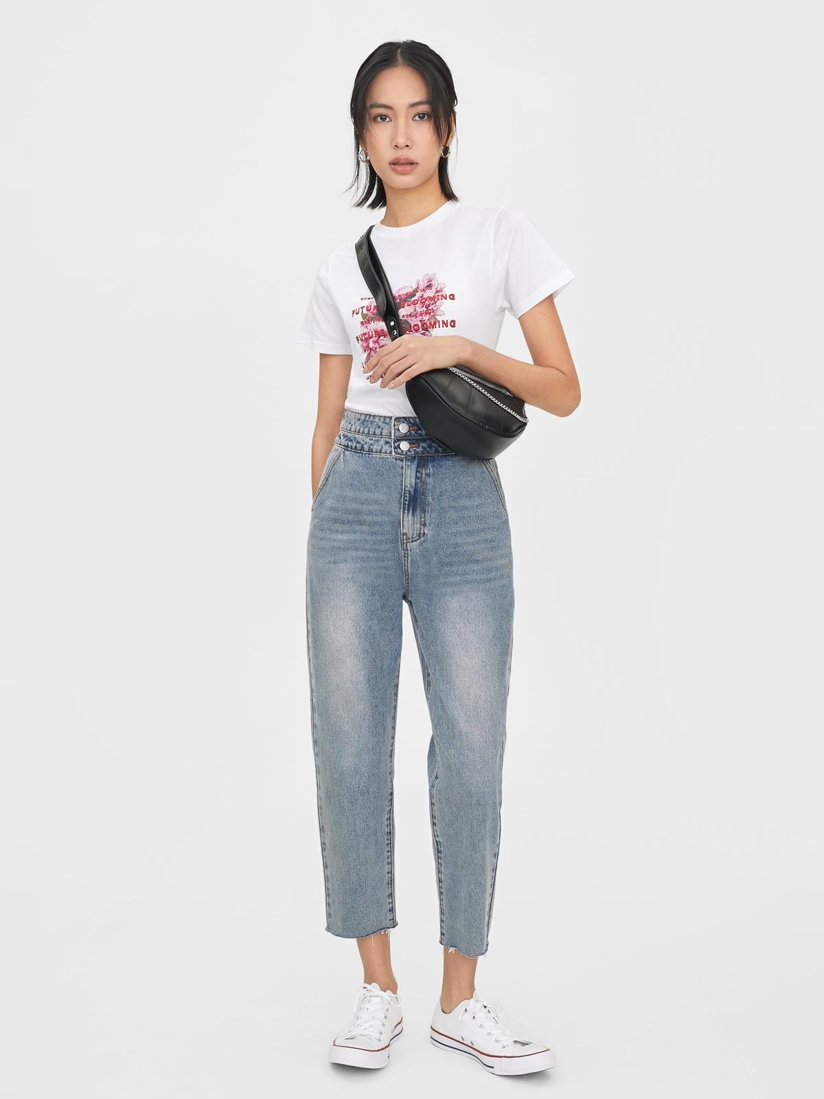 Double Button Straight Leg Jeans Blue