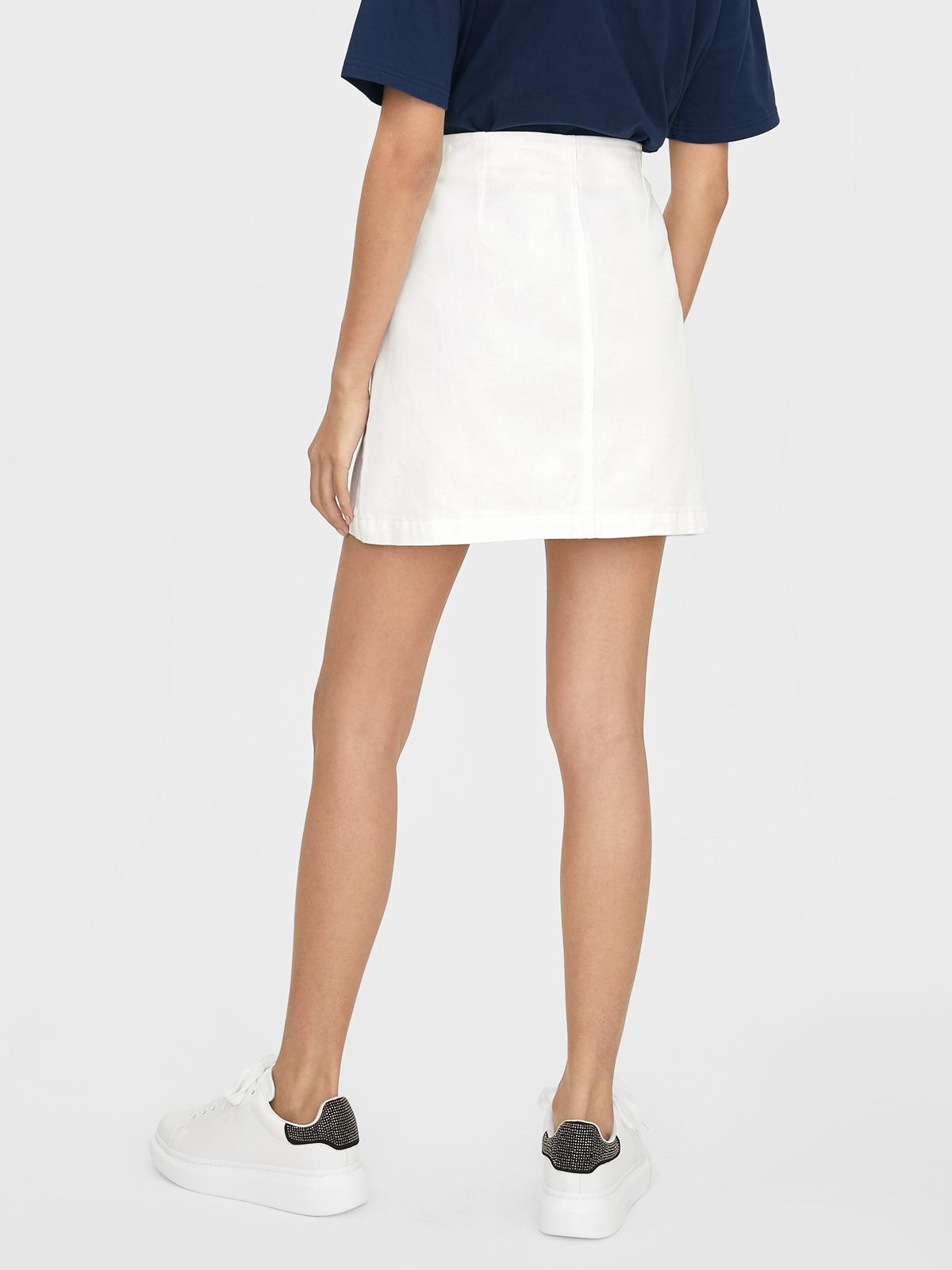 Tortoise Side Button Skirt White