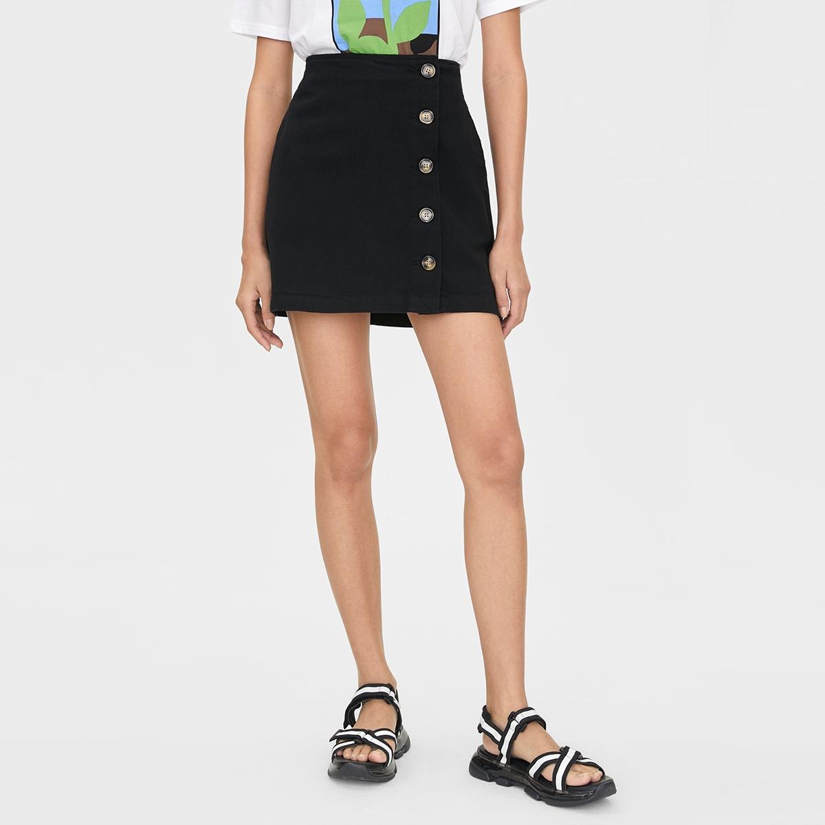 Tortoise Side Button Skirt Black