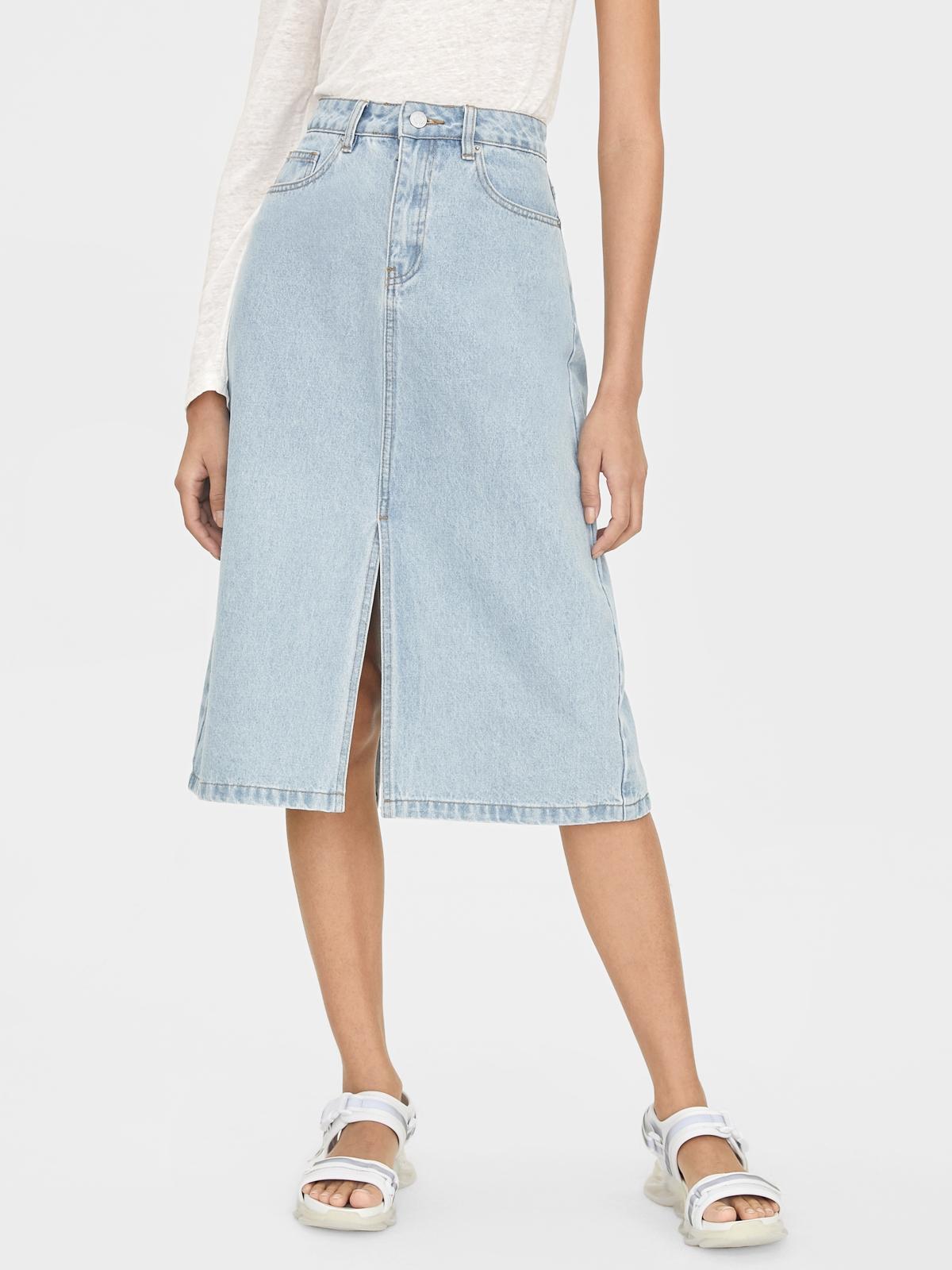 Indigo Front And Back Slit Skirt White