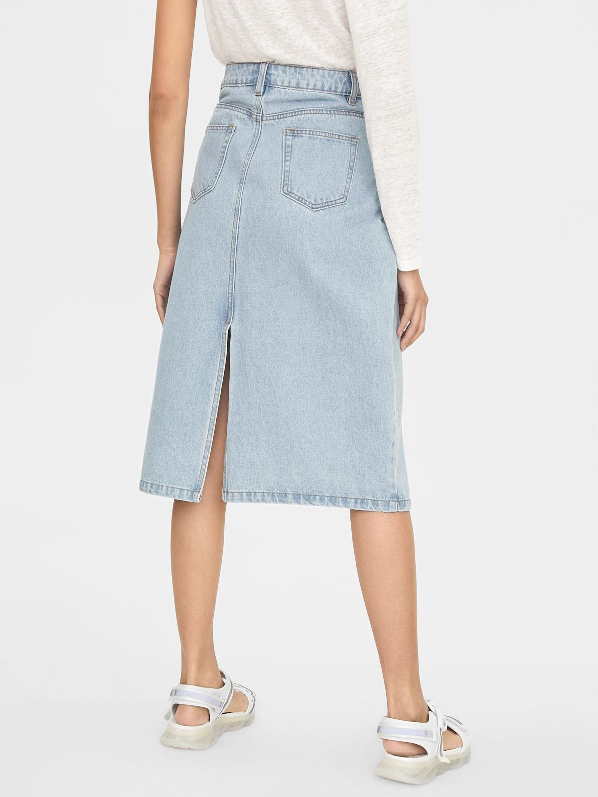 Indigo Front And Back Slit Skirt Light Blue