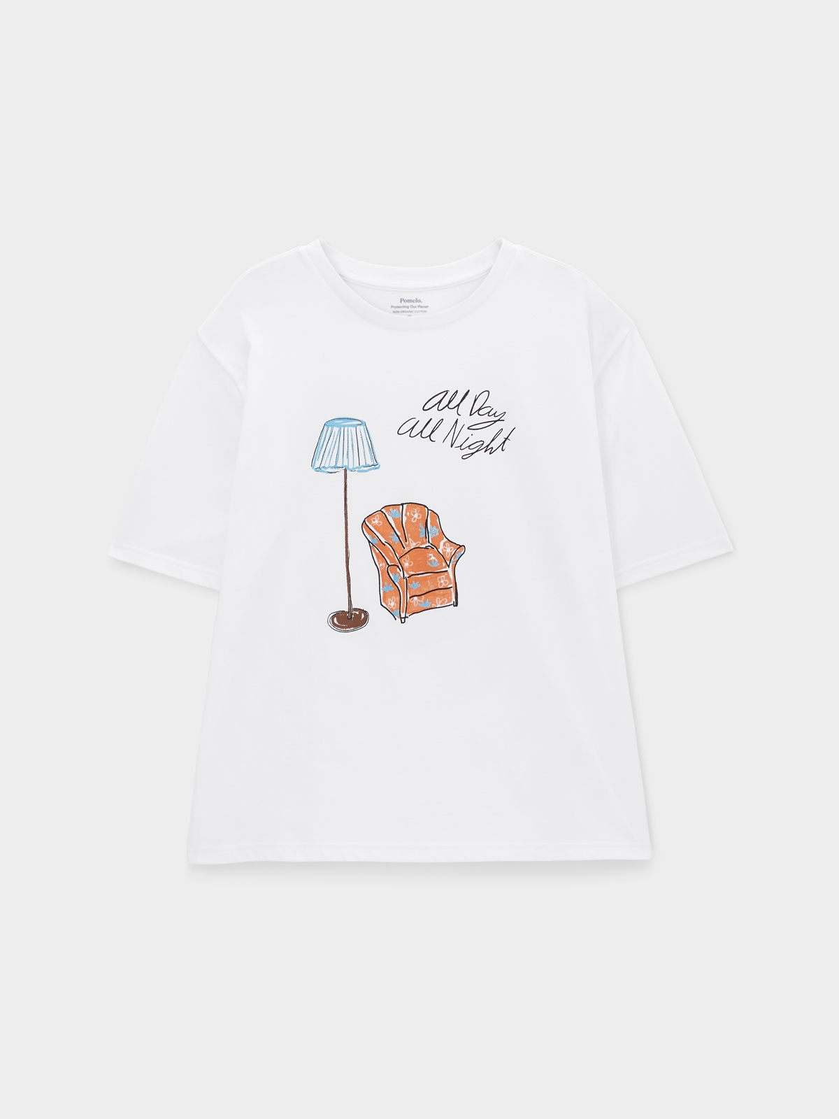 All Day All Night Organic Cotton Graphic Tee White