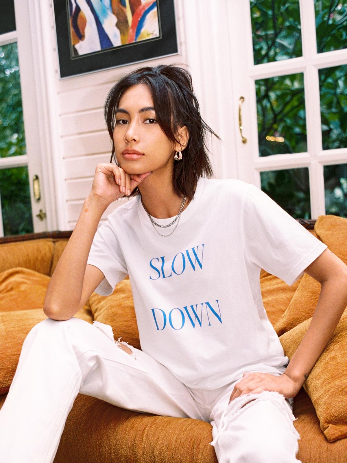 Slow Down Organic Cotton Graphic Tee White