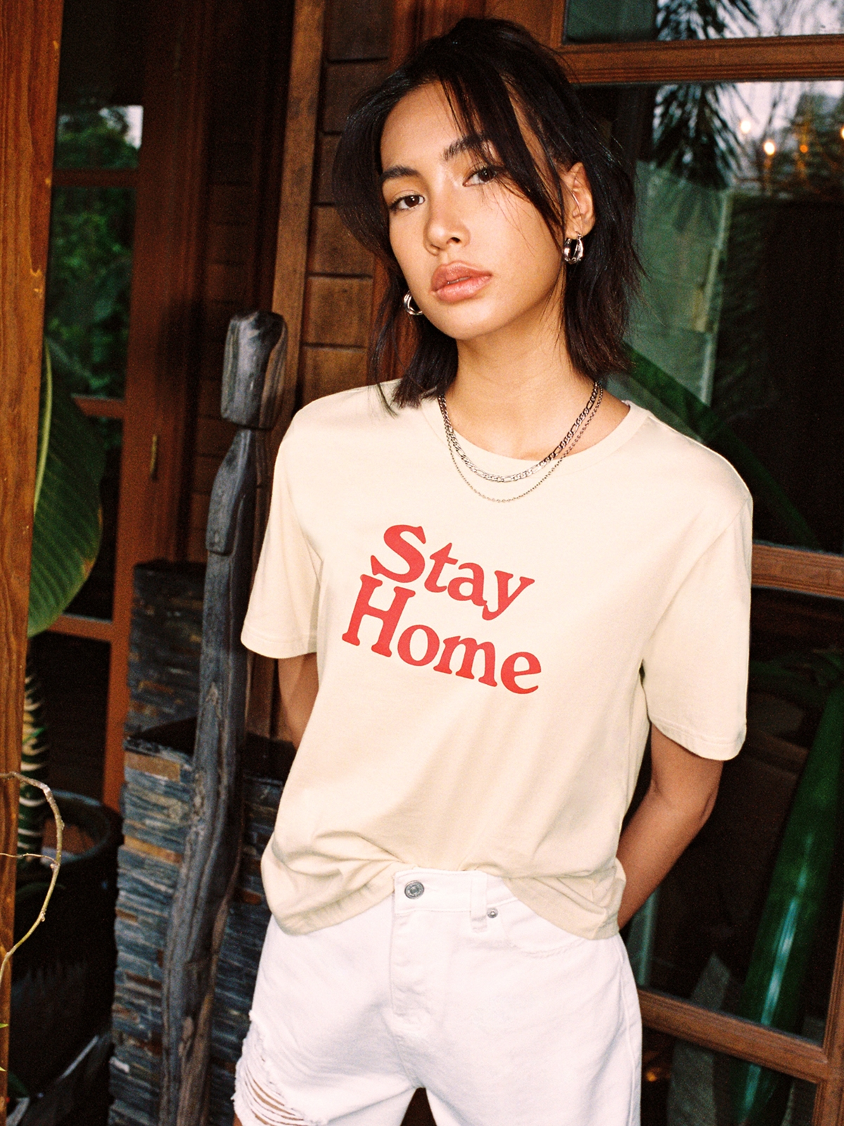 Stay Home Organic Cotton Graphic Tee Beige