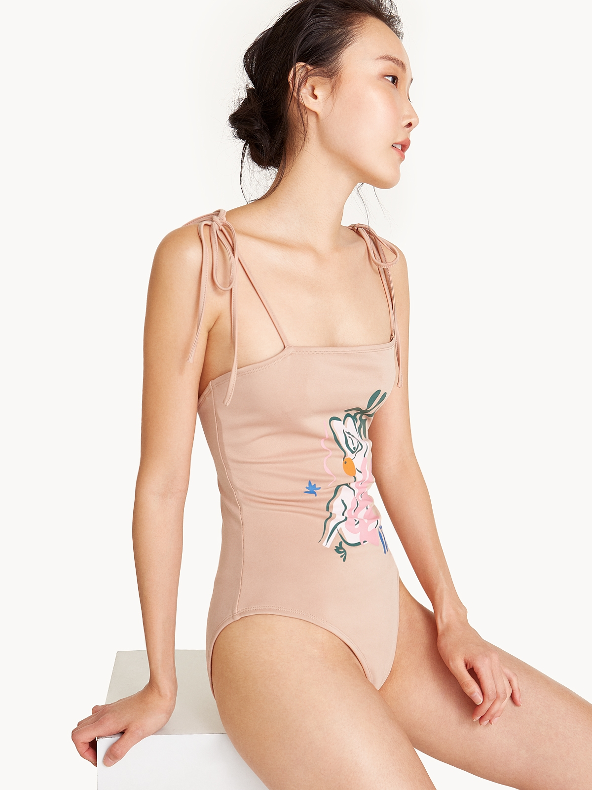 Abstract Figure One Piece Bathing Suit