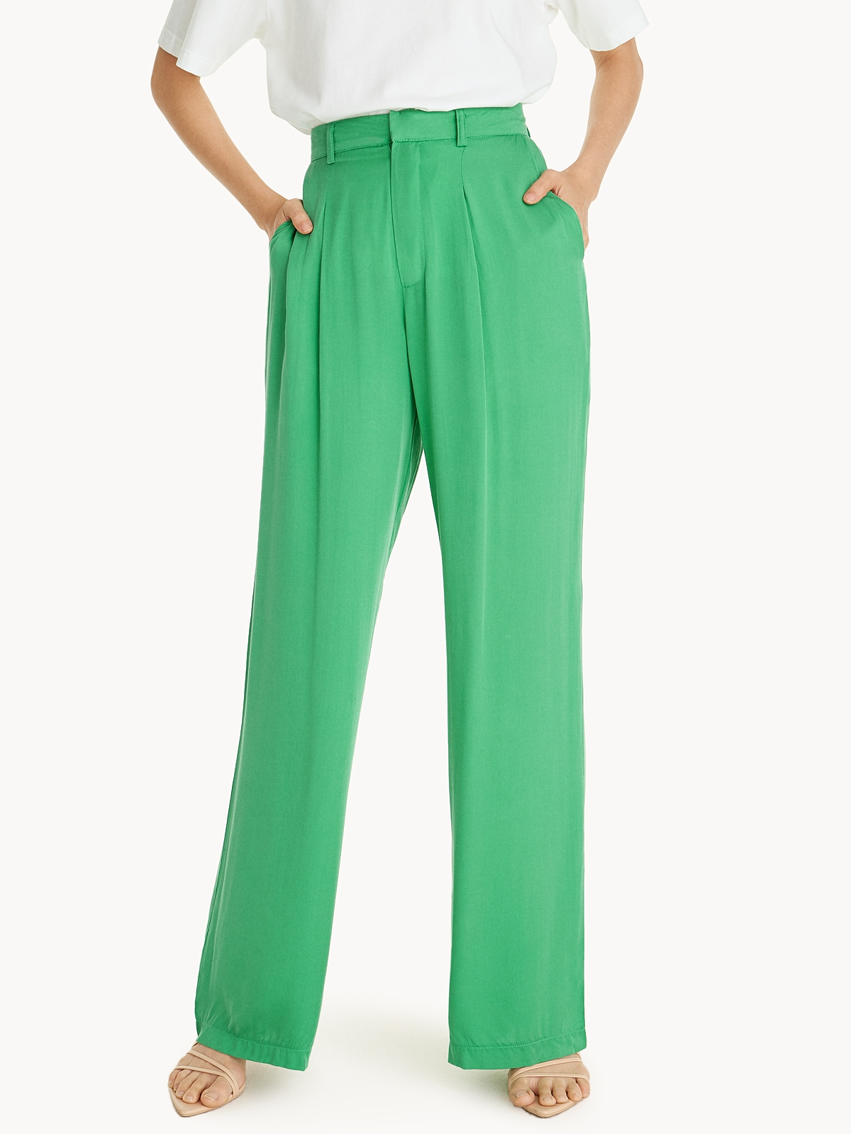 Center Pleated Pants Green