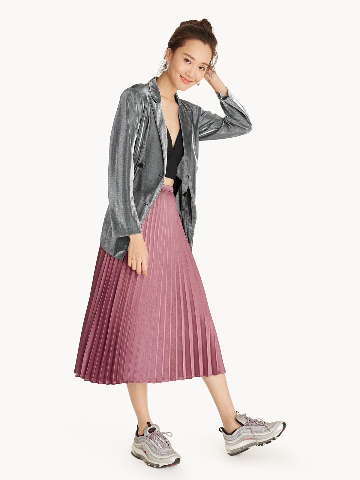Satin Pleated Midi Skirt Pink