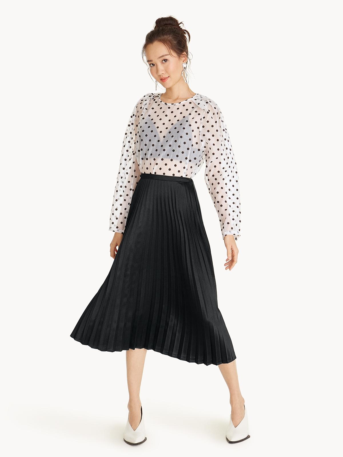 Satin Pleated Midi Skirt Black