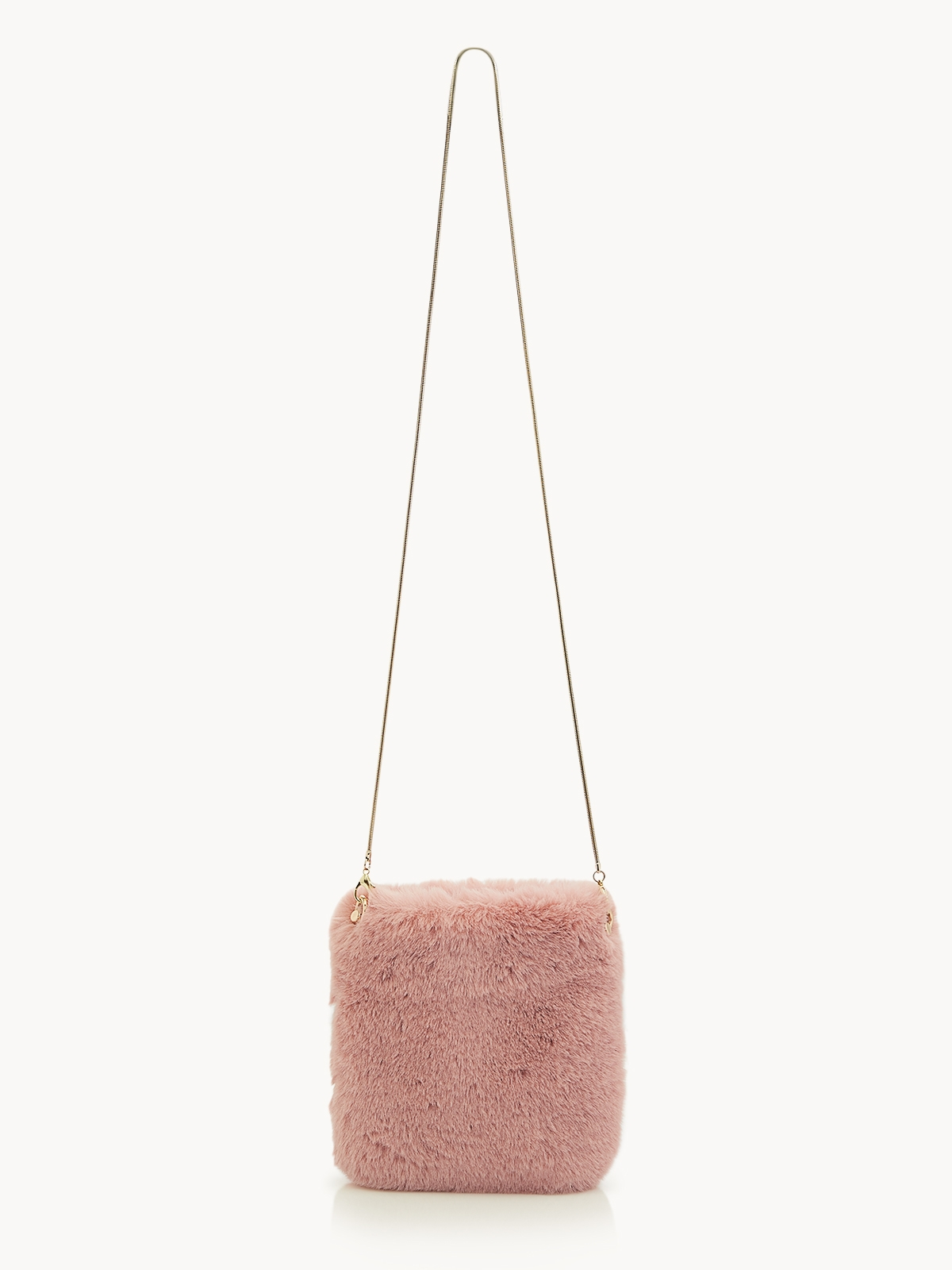 Faux Fur Chained Crossbody Bag Pink