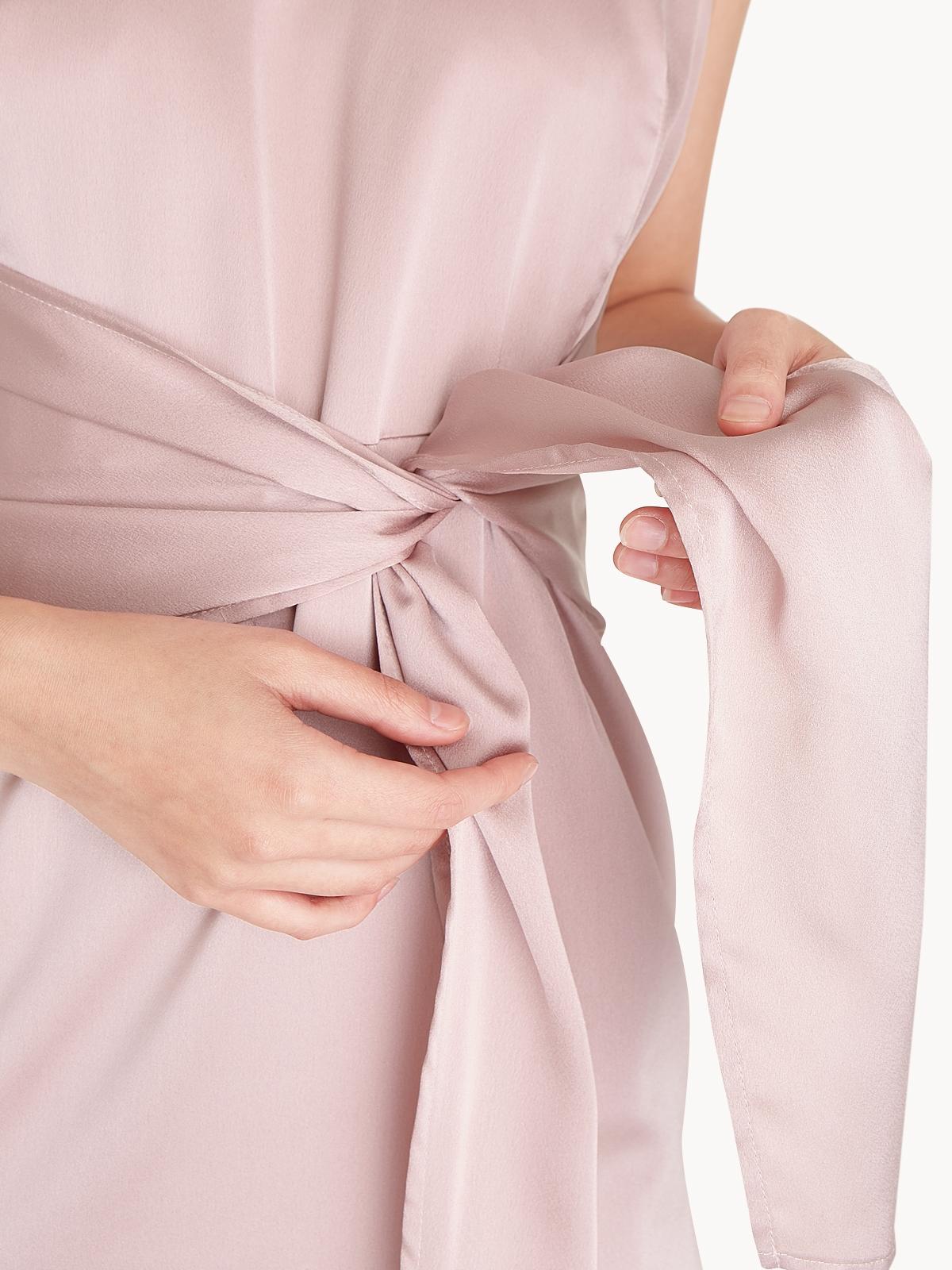 Satin Front Bow Midi Dress Pink