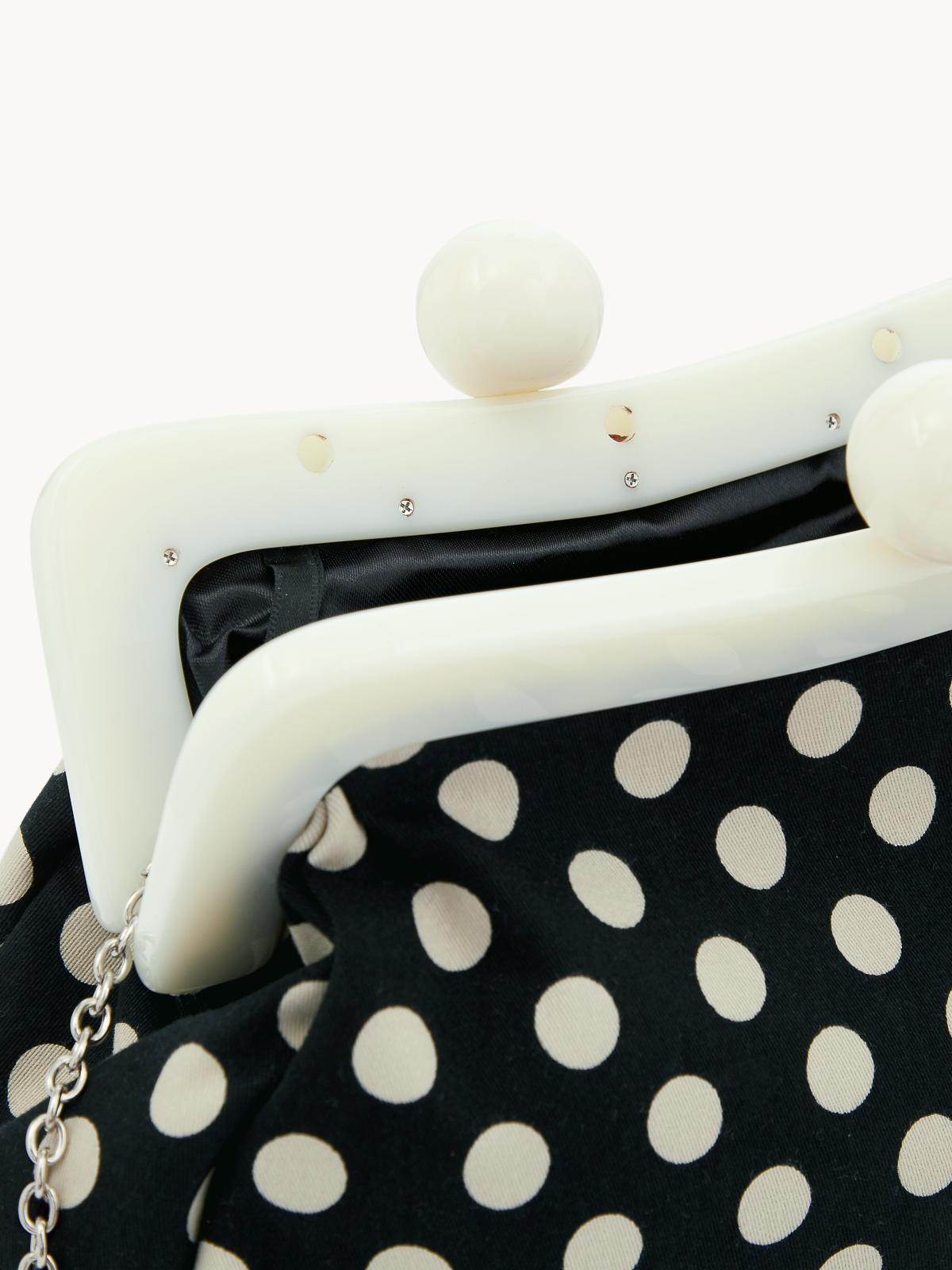 Polka Dot Kiss Lock Cross Body Bag Black