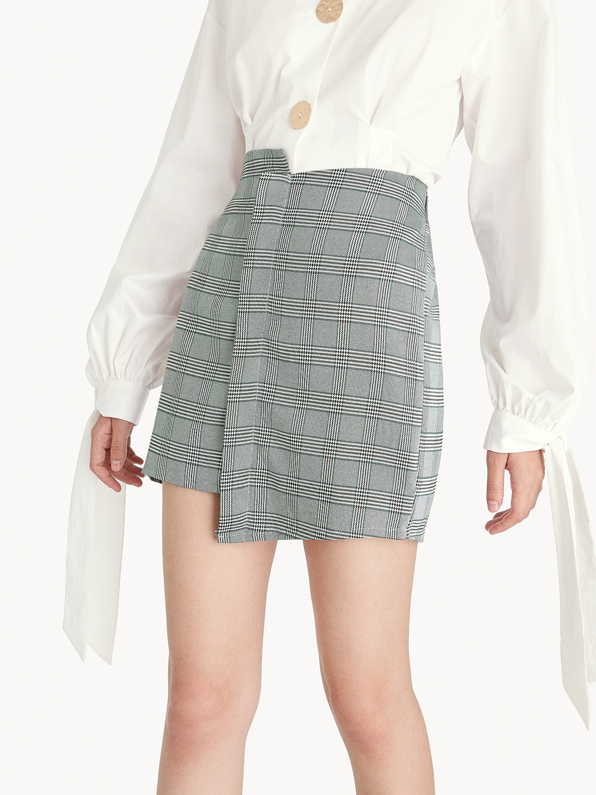 Mini Asymmetric Glen Plaid Skirt Green